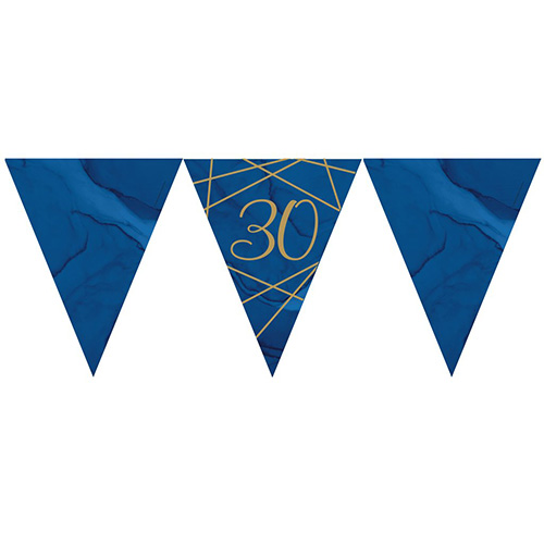 Navy & Gold Geode Foiled Age 30 Paper Flag Bunting 370cm