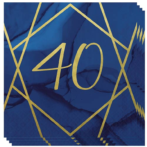 Navy & Gold Geode Foiled Age 40 Luncheon Napkins 33cm 3Ply - Pack of 16 Bundle Product Image
