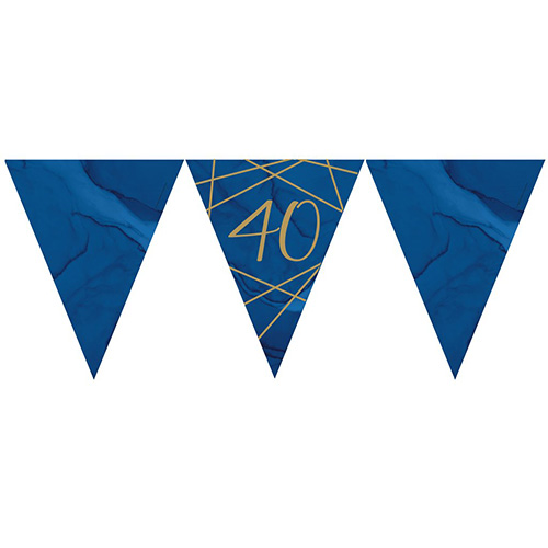 Navy & Gold Geode Foiled Age 40 Paper Flag Bunting 370cm Bundle Product Image