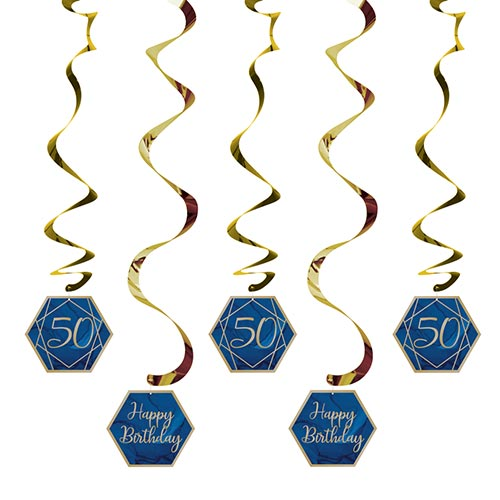 Navy & Gold Geode Foiled Age 50 Dizzy Danglers Swirl Hanging Decorations - Pack of 5 Product Image