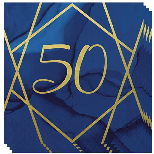 Navy & Gold Geode Foiled Age 50 Luncheon Napkins 33cm 3Ply - Pack of 16 Bundle Product Image
