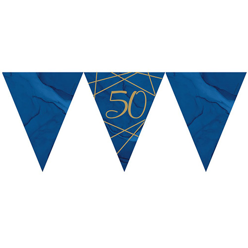 Navy & Gold Geode Foiled Age 50 Paper Flag Bunting 370cm Bundle Product Image