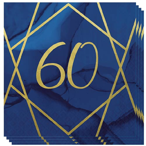 Navy & Gold Geode Foiled Age 60 Luncheon Napkins 33cm 3Ply - Pack of 16 Product Image