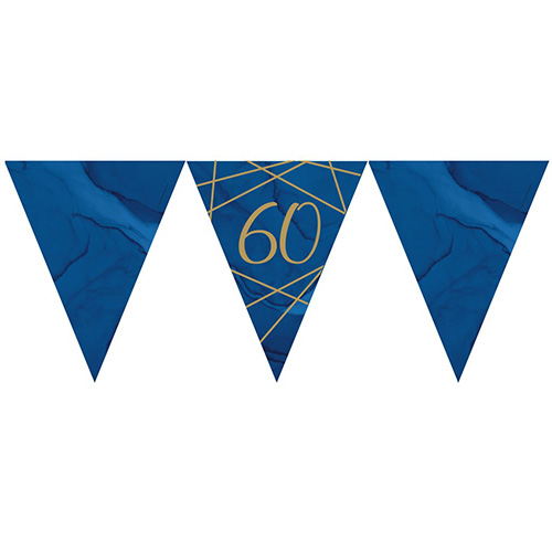 Navy & Gold Geode Foiled Age 60 Paper Flag Bunting 370cm