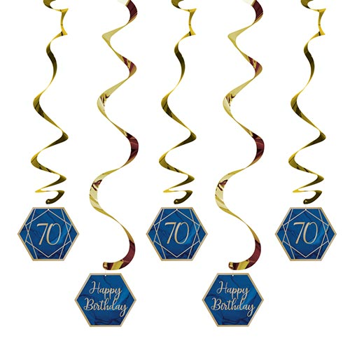 Navy & Gold Geode Foiled Age 70 Dizzy Danglers Swirl Hanging Decorations - Pack of 5 Product Image