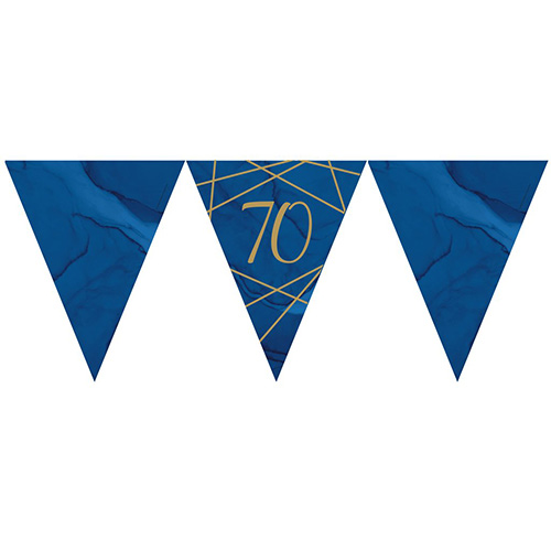 Navy & Gold Geode Foiled Age 70 Paper Flag Bunting 370cm Bundle Product Image