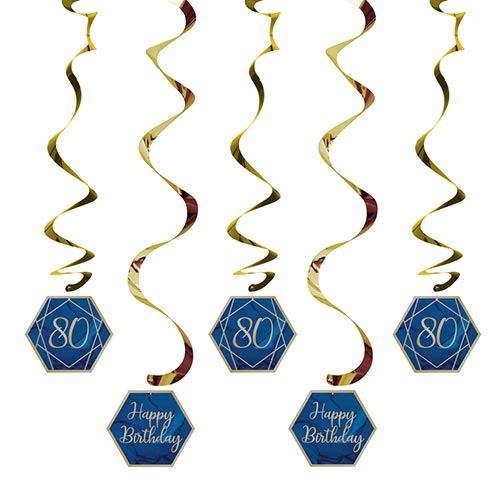 Navy & Gold Geode Foiled Age 80 Dizzy Danglers Swirl Hanging Decorations - Pack of 5 Product Image