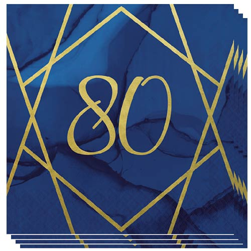 Navy & Gold Geode Foiled Age 80 Luncheon Napkins 33cm 3Ply - Pack of 16 Bundle Product Image