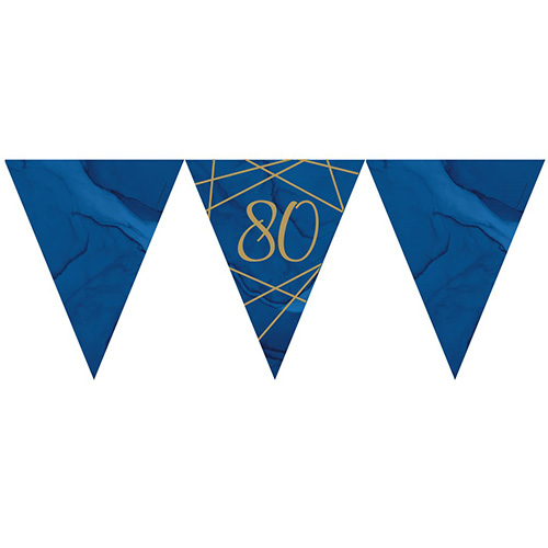 Navy & Gold Geode Foiled Age 80 Paper Flag Bunting 370cm Bundle Product Image