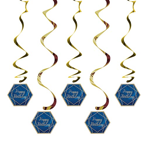 Navy & Gold Geode Foiled Happy Birthday Dizzy Danglers Swirl Hanging Decorations - Pack of 5 Product Image