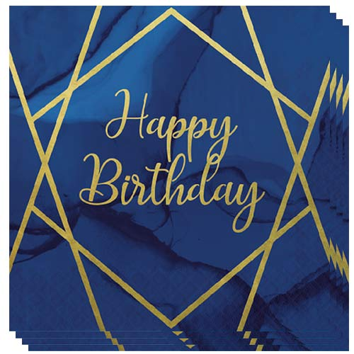 Navy & Gold Geode Foiled Happy Birthday Luncheon Napkins 33cm 3Ply - Pack of 16