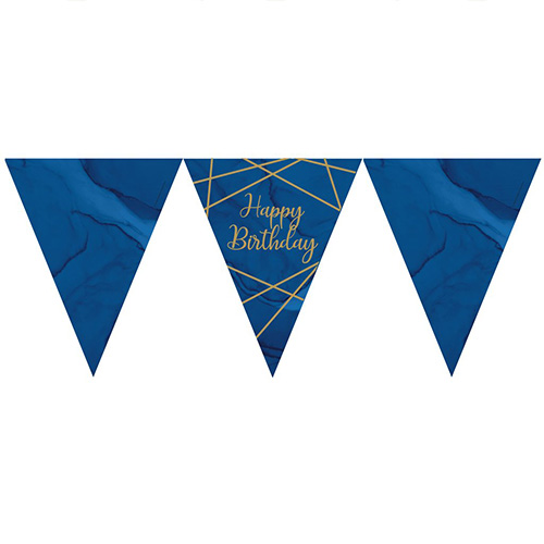 Navy & Gold Geode Foiled Happy Birthday Paper Flag Bunting 370cm