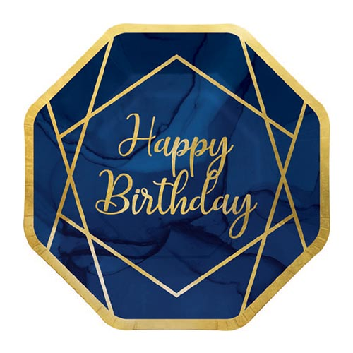 Navy & Gold Geode Foiled Happy Birthday Paper Plates 23cm - Pack of 8 Bundle Product Image