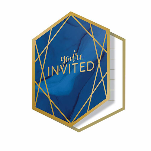 Navy & Gold Geode Foiled Invitations with Envelopes - Pack of 8 Product Image
