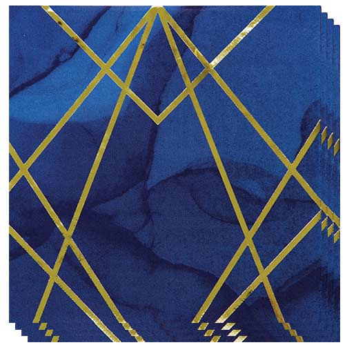 Navy & Gold Geode Foiled Luncheon Napkins 33cm 3Ply - Pack of 16