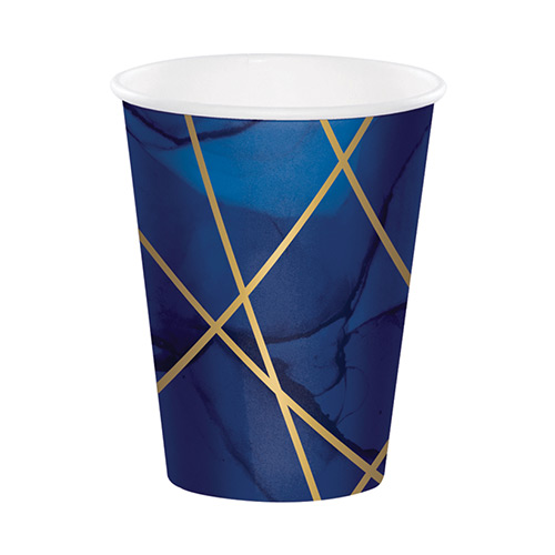 Navy & Gold Geode Foiled Paper Cups 354ml - Pack of 8 Bundle Product Image