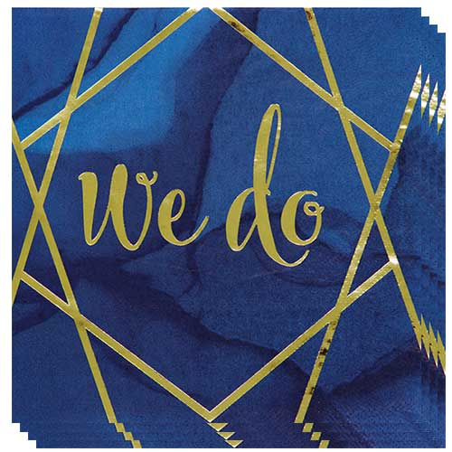 Navy & Gold Geode Foiled We Do Luncheon Napkins 33cm 3Ply - Pack of 16 Bundle Product Image