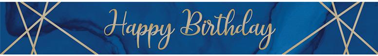 Navy & Gold Geode Happy Birthday Foil Banner 274cm
