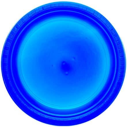 True Blue Round Plastic Plates 23cm - Pack of 20
