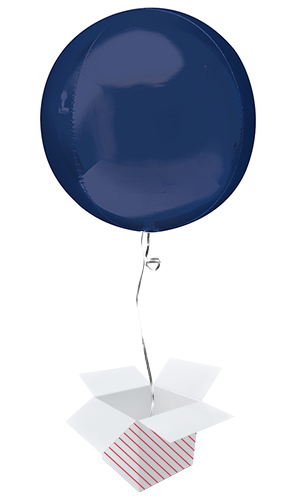 Navy Blue Orbz Foil Helium Balloon - Inflated Balloon in a Box Product Image