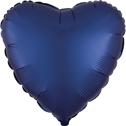 Navy Blue Satin Luxe Heart Shape Foil Helium Balloon 43cm / 17 in Product Image
