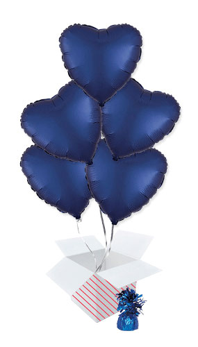 Navy Blue Satin Luxe Heart Shape Foil Helium Balloon Bouquet - 5 Inflated Balloons In A Box Product Image