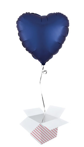 Navy Blue Satin Luxe Heart Shape Foil Helium Balloon - Inflated Balloon in a Box Product Image