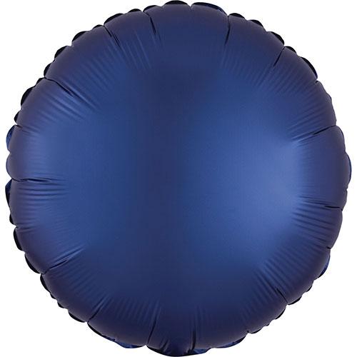 Navy Blue Satin Luxe Round Shape Foil Helium Balloon 43cm / 17 in