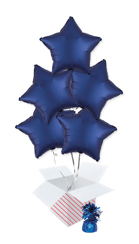 Navy Blue Satin Luxe Star Shape Foil Helium Balloon Bouquet - 5 Inflated Balloons In A Box Product Image