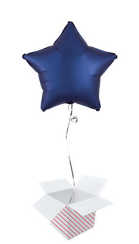 Navy Blue Satin Luxe Star Shape Foil Helium Balloon - Inflated Balloon in a Box Product Image