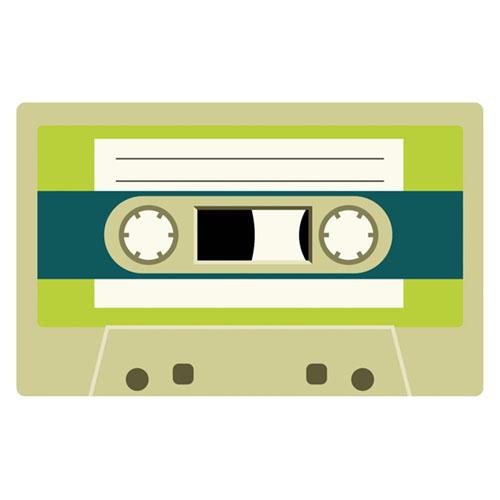Neon Green Cassette Tape PVC Party Sign Decoration 37cm x 23cm Product Image