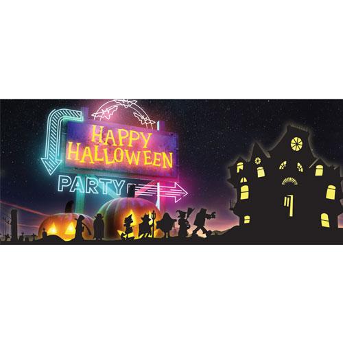 Neon Lights Happy Halloween PVC Party Sign Decoration 60cm x 25cm Product Image