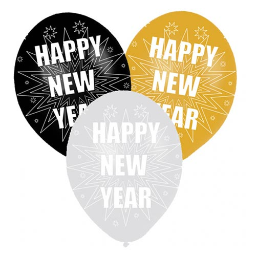 New Year Assorted Biodegradable Latex Balloons 27.5cm / 11 in - Pack of 6 Product Image