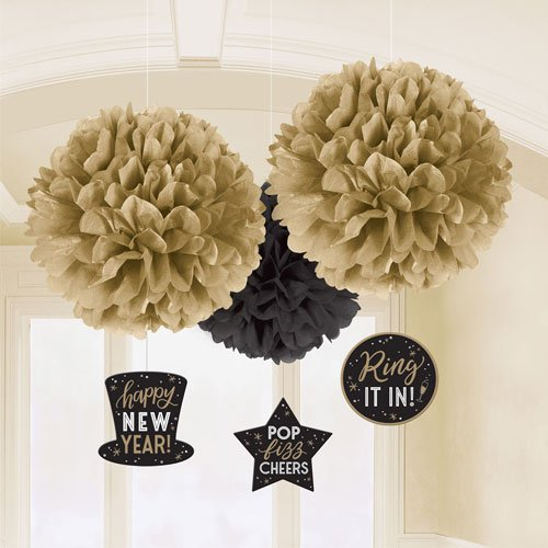 New Year Black & Gold Fluffy Hanging Decorations - Pack of 3