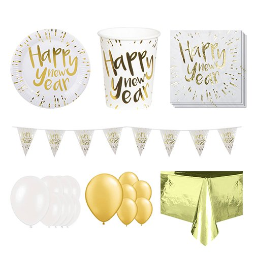 New Year Gold 12 Person Deluxe Party Pack
