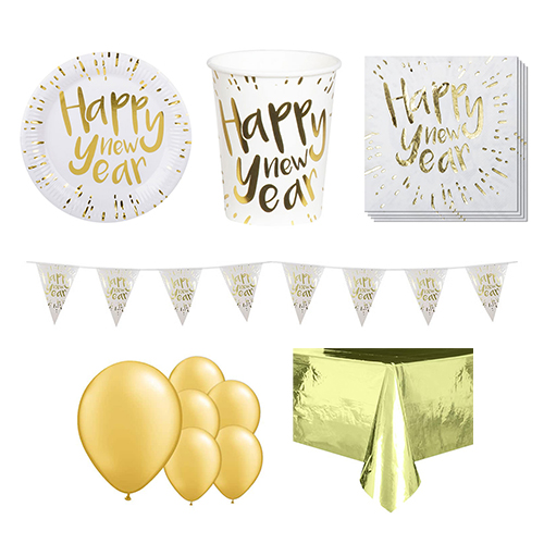 New Year Gold 6 Person Deluxe Party Pack