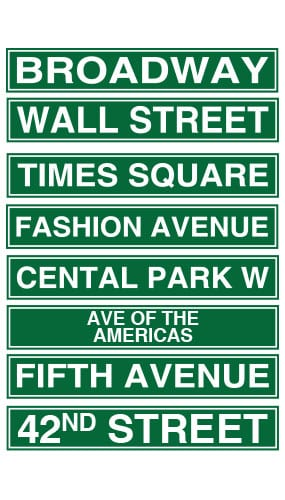 New York City Street Sign Decorations 61cm Pack Of 8 Product Image