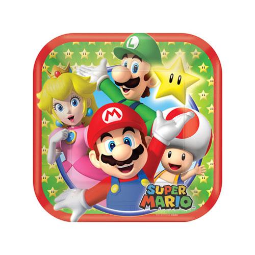 Super Mario Square Paper Plates 18cm - Pack of 8