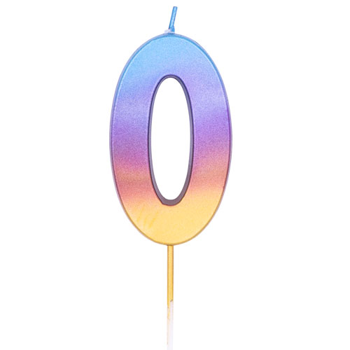 Number 0 Rainbow Ombre Pick Birthday Candle 11cm Product Image