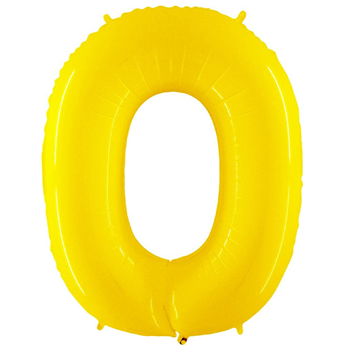 Number 0 Yellow Helium Foil Giant Balloon 102cm / 40 in Product Image