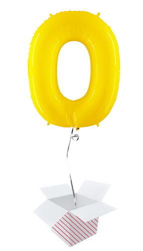 Number 0 Yellow Helium Foil Giant Balloon - Inflated Balloon in a Box Product Image