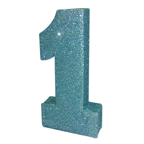 Number 1 Baby Blue Glitter Table Decoration 20cm