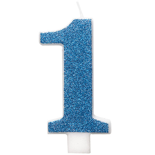 Number 1 Blue Glitz Glitter Birthday Candle 8cm