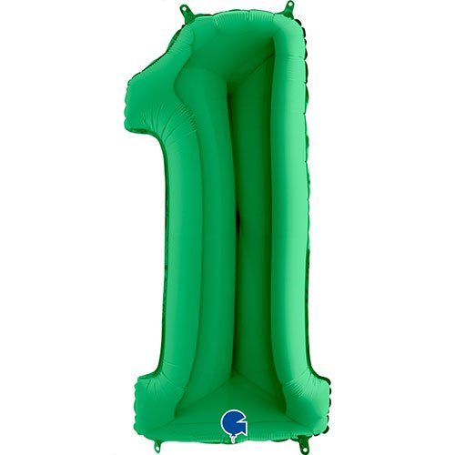 Green Number 1 Helium Foil Giant Balloon 102cm / 40 in Product Image