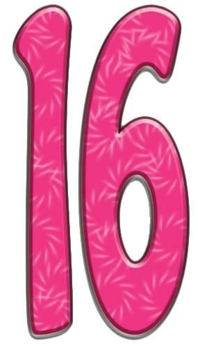 Number 16 Lifesize Cardboard Cutout - 171cm