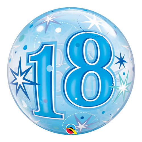 Number 18 Blue Starbust Sparkle Bubble Helium Qualatex Balloon 56cm / 22 in Product Image