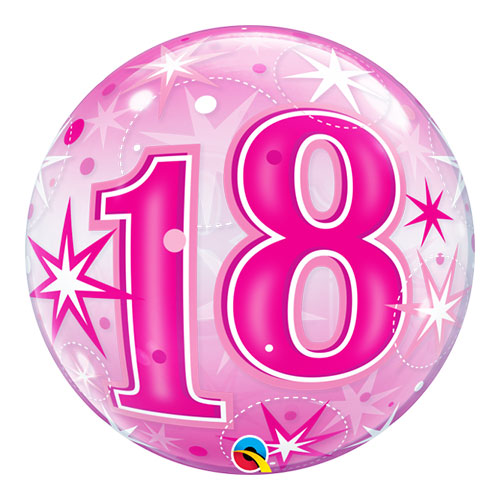 Number 18 Pink Starbust Sparkle Bubble Helium Qualatex Balloon 56cm / 22 in
