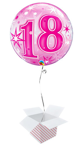 Number 18 Pink Starbust Sparkle Bubble Helium Qualatex Balloon - Inflated Balloon in a Box