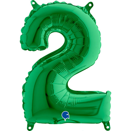 Number 2 Green Air Fill Foil Balloon 35cm / 14 in