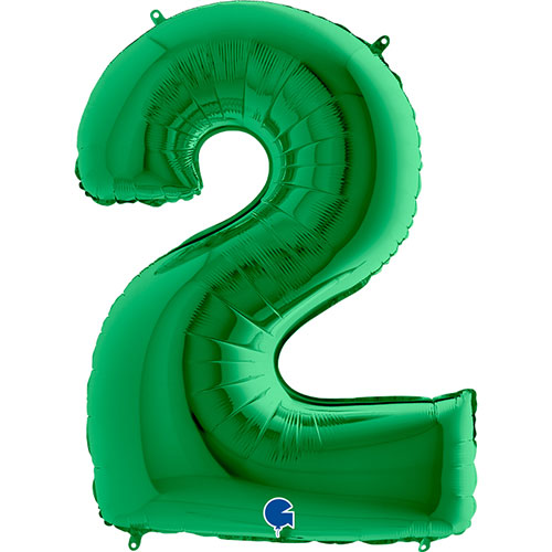 Green Number 2 Helium Foil Giant Balloon 102cm / 40 in Product Image